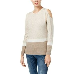 NWT INC Striped Cold Shoulder Sweater